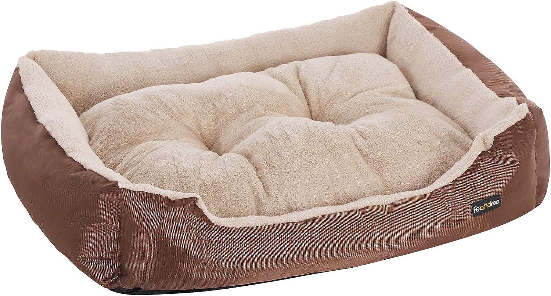 FEANDREA Cama para Perro, Sofá para Perro, 70 x 55 x 21 cm, Marrón PGW03Z