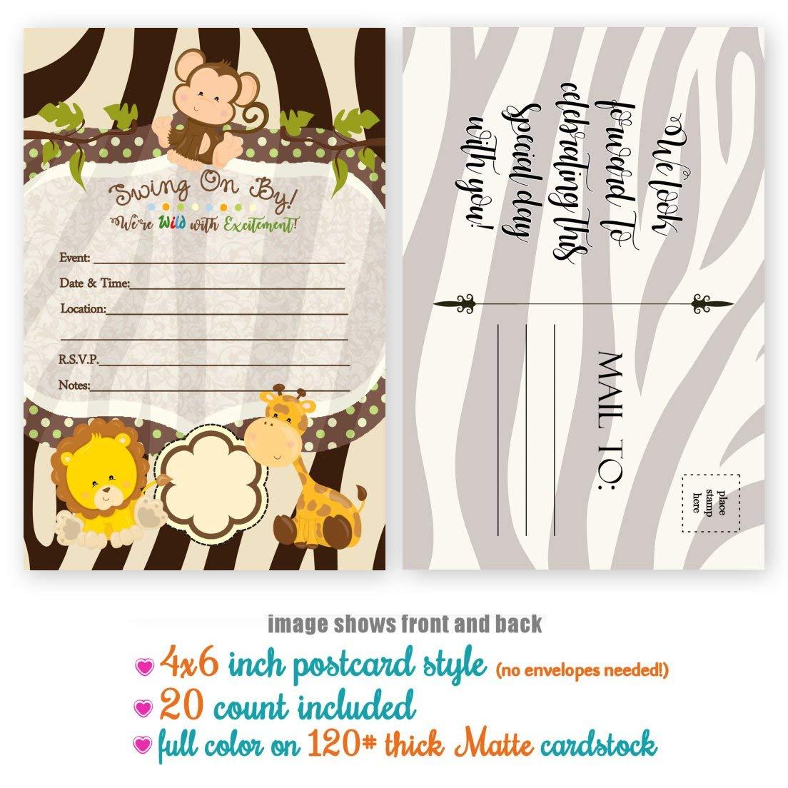 Amazon Monkey Birthday Invitations Jungle Baby Shower Invitation 20 Count 4x6 Inch Postcard Fill In The Blank Handmade