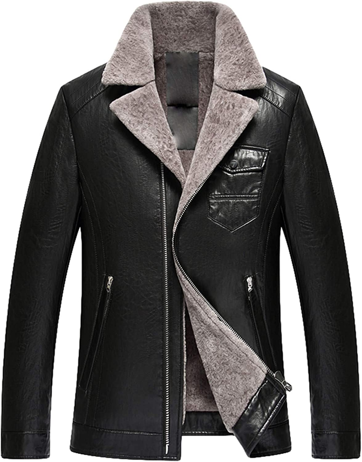 PENER Men Suit Collar Leather Jacket Warm PU Leather Lamb Wool Lined