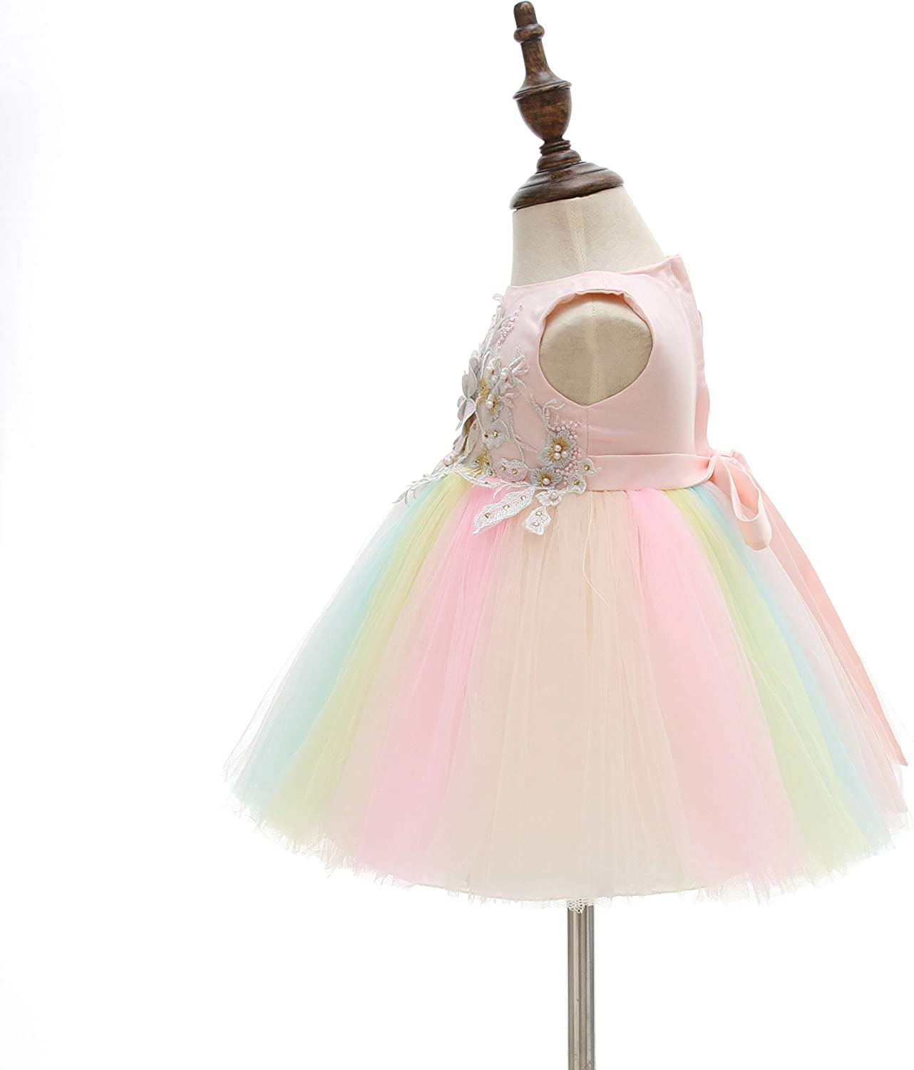 Weileenice Baby Girls Costume Cosplay Dress Pastel Tulle 3D Embroidery Beading Princess Tutu Dresses