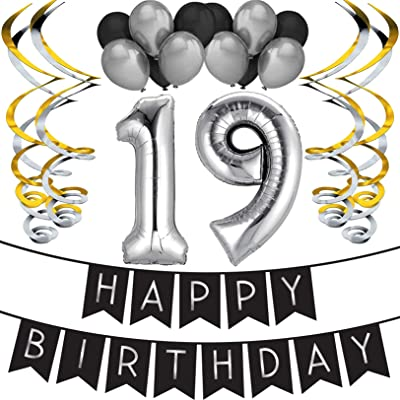 19th Birthday Party Pack - Black & Silver Happy Birthday Bunting, Balloon, and Swirls Pack- Birthday Decorations - 19th Birthday Party Supplies: Toys & Games