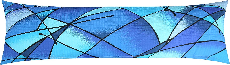 Heubergshop Seersucker Seitenschl/äferkissen Bezug 40x145cm Wildes Muster 100/% Baumwolle SB-183//2-S Stillkissenbezug /Öko-Tex Blaue Streifen