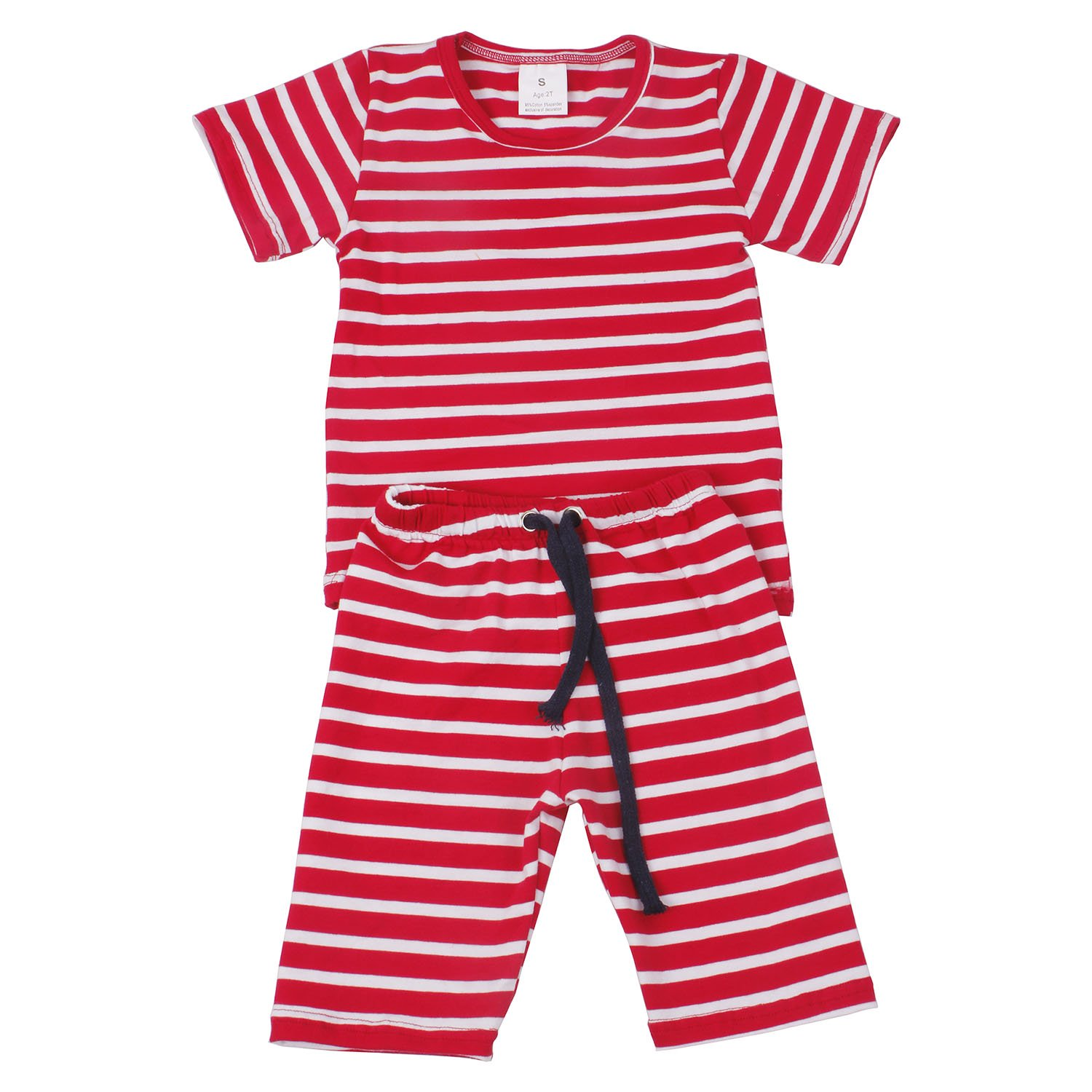 Yliyang Baby Girls Boys Summer Cotton Multistripe Short Sleeve T-Shirt Cute 2pcs Short Sets Outfits Kids Shorts Clothing Sets