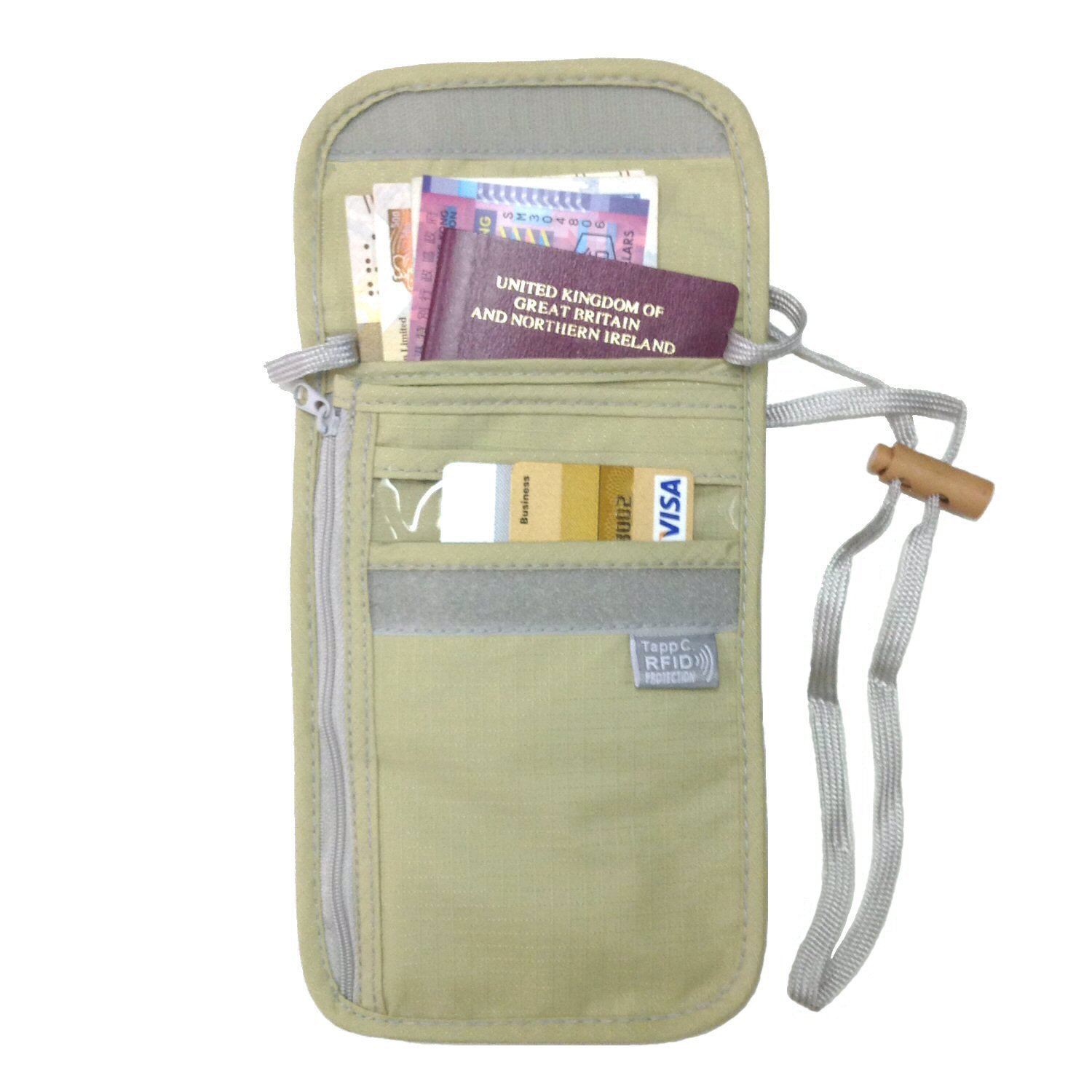 Tapp Collections RFID Travel Neck Pouch - Sand