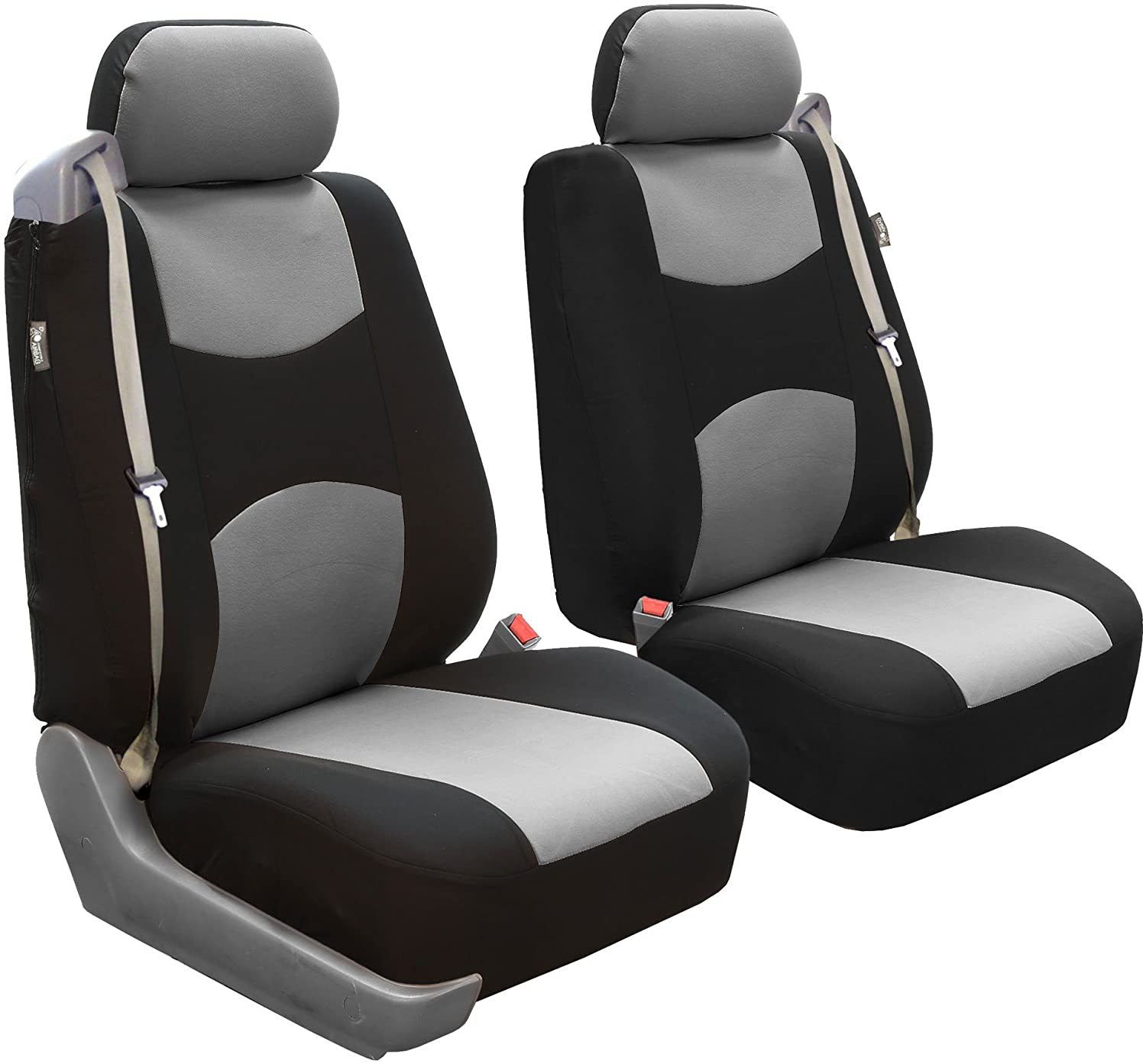 FH Group FB052CHARCOAL102 Charcoal Front Flat Cloth Bucket Seat Cover Multifunctional Airbag Compatible Set of 2