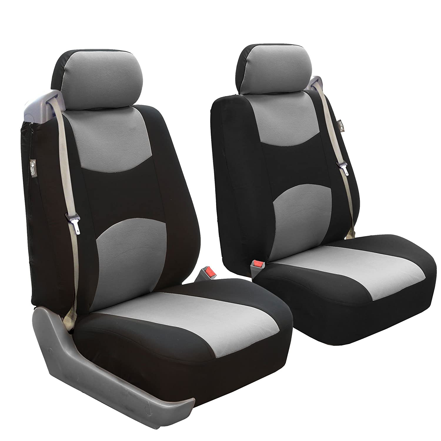 FH Group FB351BLACK102 Black Flat Cloth Front Low Back Seat Cover, Set of 2 (Built-In Seatbelt Compatible)