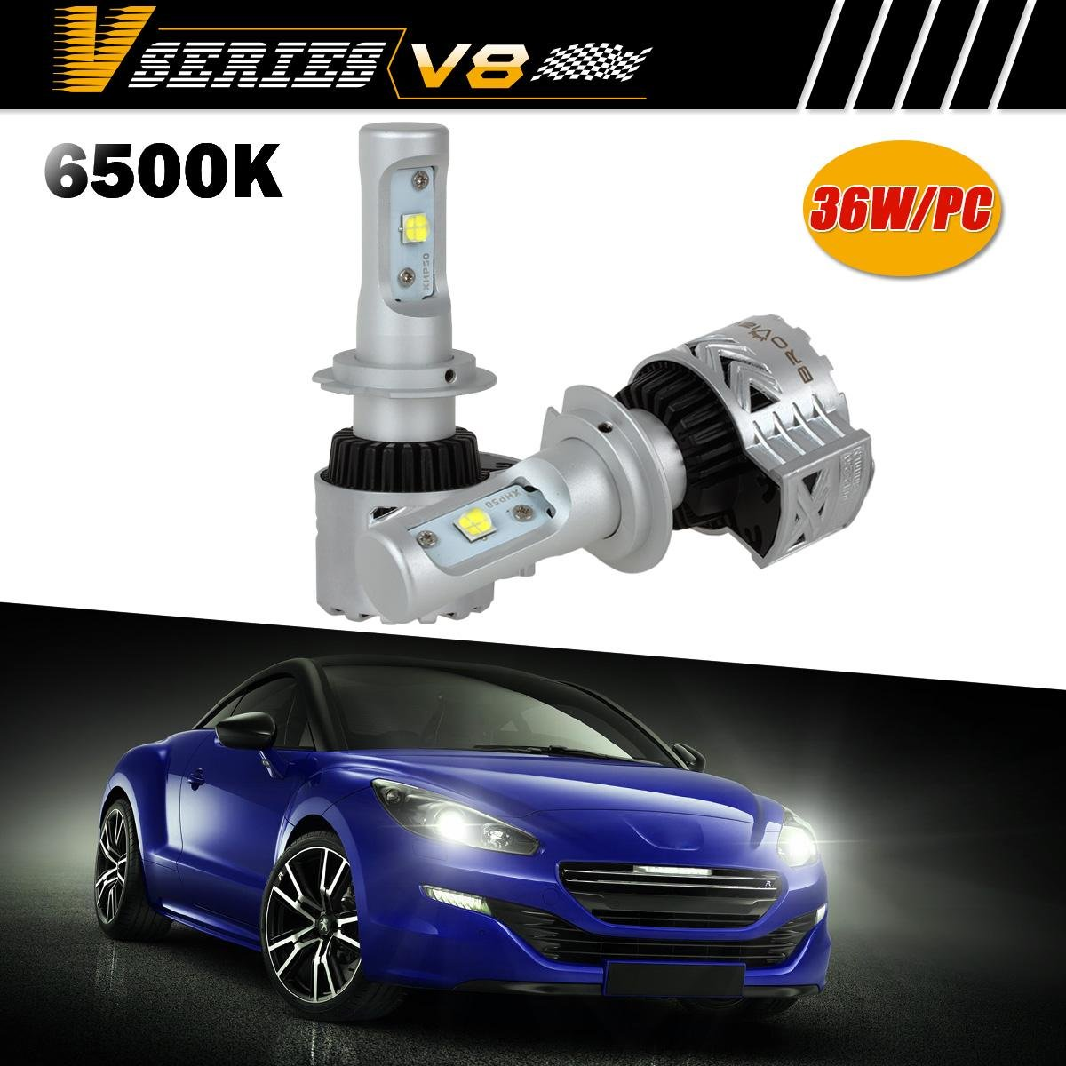Broview V8 Led Headlight Bulbs W Clear Arc Beam Kit 72w 1997 Mercedes E320 Wiring Harness 12000lm 6500k White Cree Headlights For Replace Hid Xenon