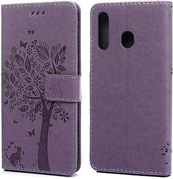 iAdvantec Funda para Samsung Galaxy A20/A30/A50, Estuche de Cuero Estampado Libro de Cuero con Tapa y Cartera, Carcasa PU Leather con TPU Silicona Case Interna Suave, Árbol de Color púrpura Claro: Amazon.es: