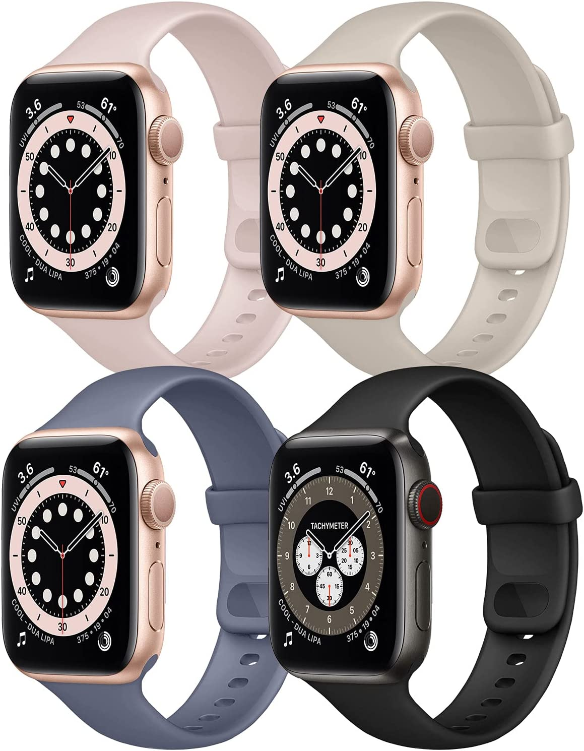 Hotflow 4 Pack Compatible with Apple Watch Bands 38mm 40mm for Women Men,Soft Silicone Sport Replacement Strap Compatible for iWatch Series SE 6 5 4 3 2 1(Black/Pink Sand/Stone/Lavender Gray,Size-S/M)