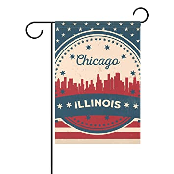Home Polyester Fabric Vintage American Flag Illinois State Chicago Skyline  Garden Flags, Mildew Resistant Custom