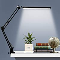 LED Desk Lamp, Metal Swing Arm Lamp with Clamp, Dimmable Eye-Care Table Light, 3 Color Modes 10 Adjustable Brightness…