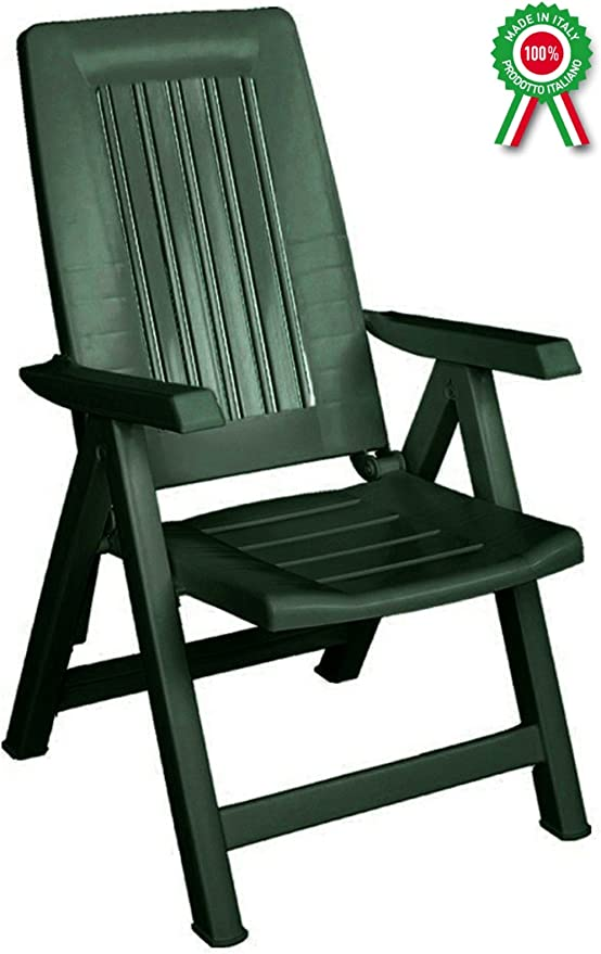 Savino Filippo sillón Tumbona Plegable reclinable Ajustable Diana de Resina de plástico Verde para Tomar EL Sol para Playa Piscina Camping jardín balcón casa: Amazon.es: Jardín