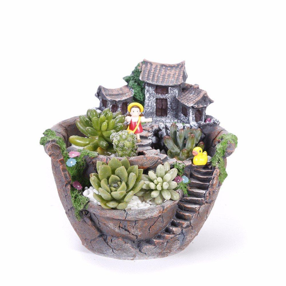 Resina di simulazione Casa europea resina creativo di piante succulente Ufficio Pot Micro paesaggio artigianato,C