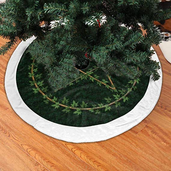 Pagan Yule Pentacle Witch Brushed Fleece Xmas Tree Skirt for Christmas Decorations Indoor Outdoor 48 inches Christmas Tree Skirt
