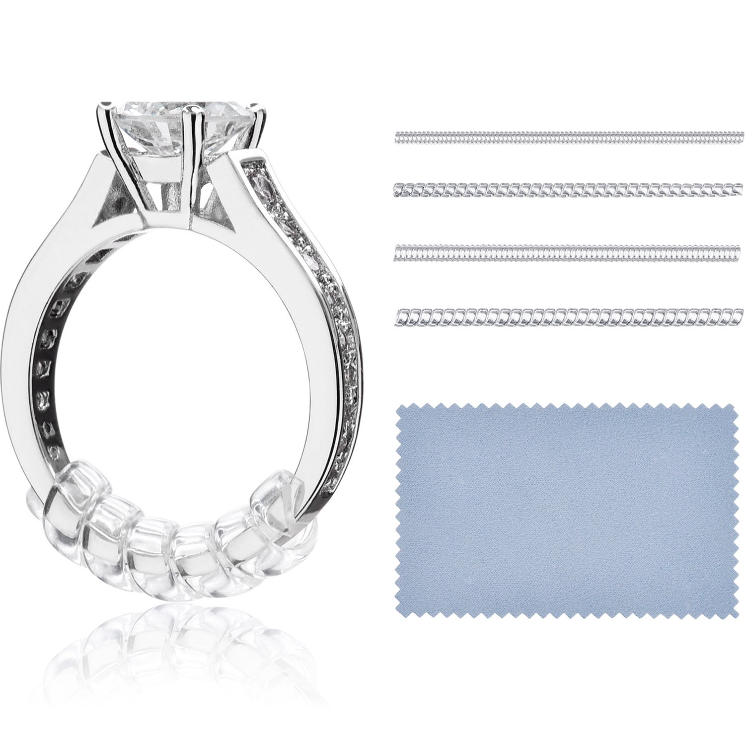 16 Pieces Ring Sizer Adjuster for Loose Rings, 4 Sizes Ring Guard with Jewelry Polishing Cloth Pangda