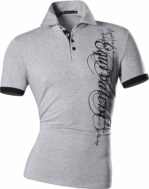 Jeansian Uomo Sportivo Manica Corta Moda Tatuaggio Casuale Cime Polos Men  Fashion T-Shirts D403  Amazon.es  Ropa y accesorios e30de5e761428