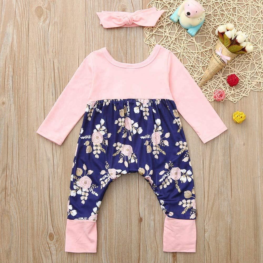Kehen Infant Toddler Girl Spring Outfit Cotton Pajamas 2pc Bodysuit Romper Headband