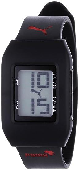 Puma A.PU910751003 - Reloj digital unisex de cuarzo con correa de resina negra (alarma, cronómetro) - sumergible a 50 metros: Amazon.es: Relojes