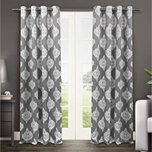 Exclusive Home Curtains Medallion Blackout Grommet Top Curtain Panel Pair, 52x96, Black Pearl, 2 Count