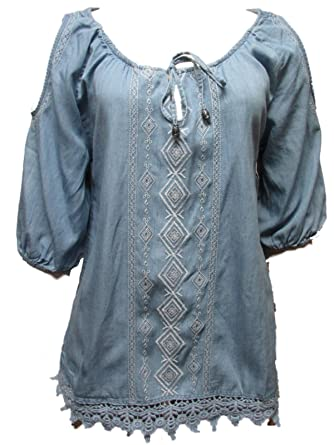 d89a8ab830b53c River   Rose Denim Cold Shoulder Embroidered Blouse Chambray Wash (Small)