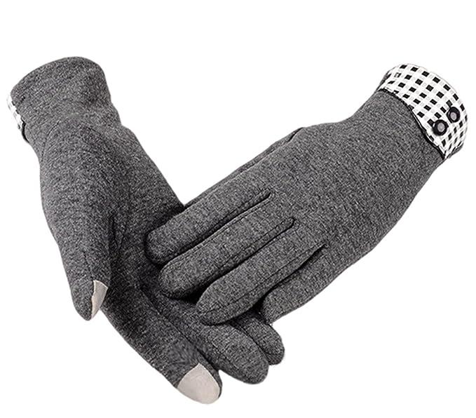 60e24915e Eianru Womens Gloves Button Lattice TouchScreen Thick lining Winter Outdoor  Glove at Amazon Women's Clothing store: