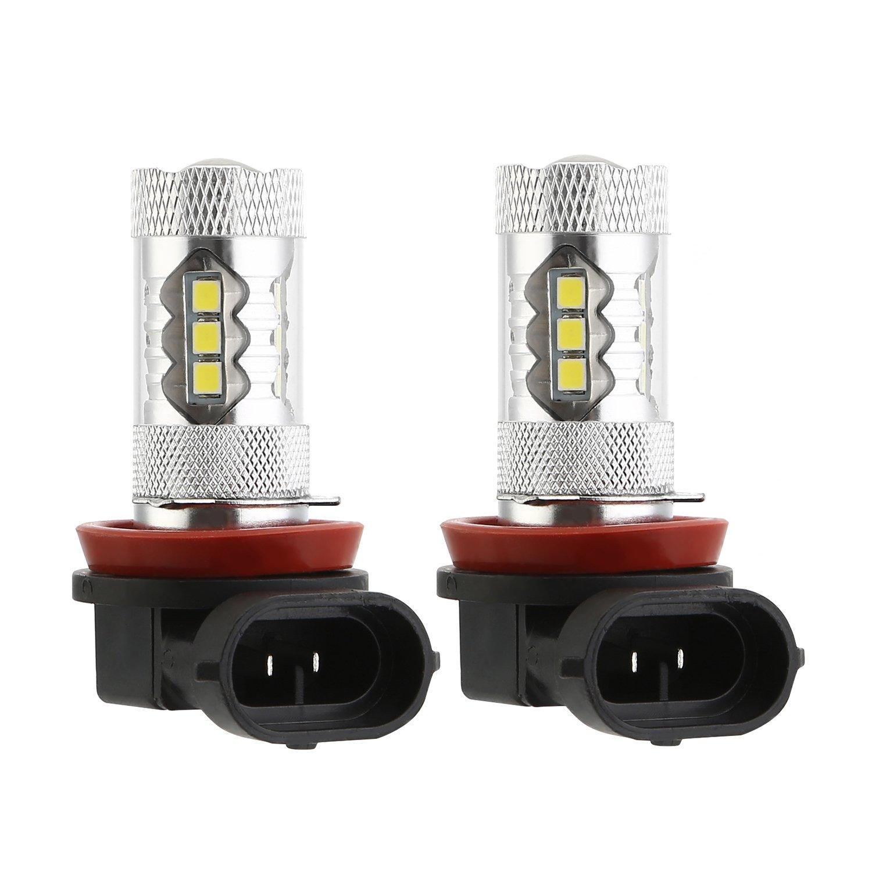 BRAUTO 2pcs 80W H8/H11 LED Fog Light Bulb Daytime Running Lamp High Power 2835 16SMD