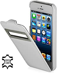 StilGut, Exclusive Étui en cuir UltraSlim pour Apple iPhone 5& iPhone 5s avec identification appels (iOS 6), blanc
