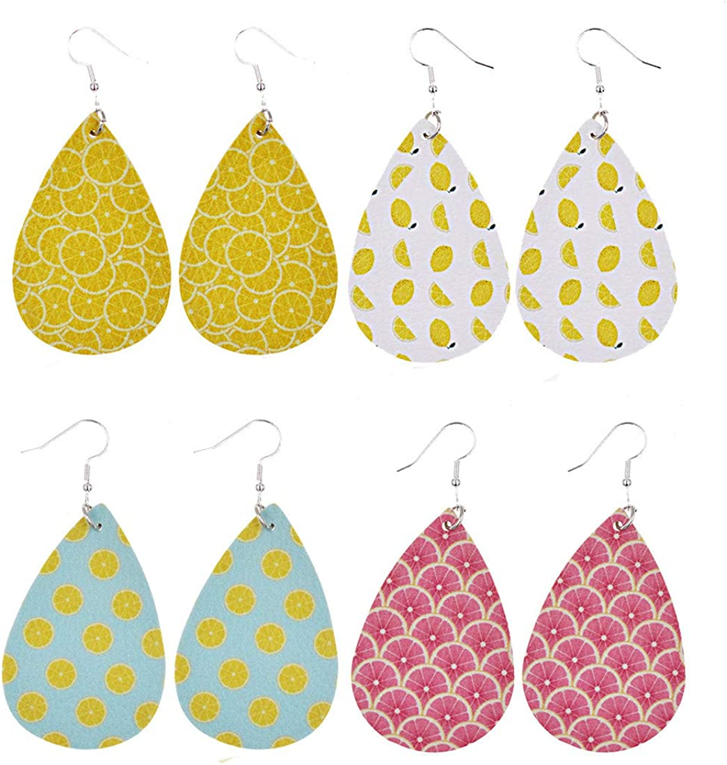 4 Pairs Summer Fruit Faux Leather Earrings Lovely Food Theme lemon Watermelon Strawberry Waterdrop Drop Dangle Earrings Set for Women Girls
