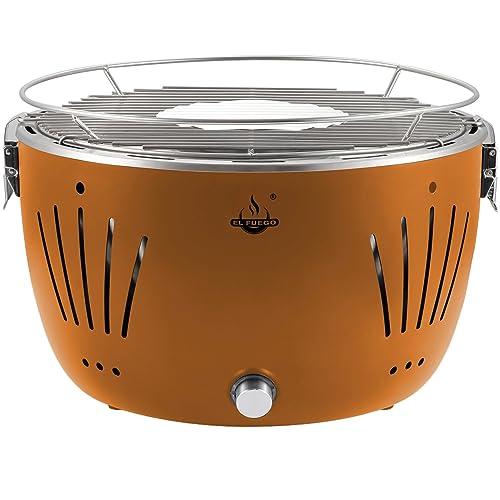 El Fuego rauchfreier Holzkohlegrill Tulsa orange 342 x 342 x 215 cm AY5252
