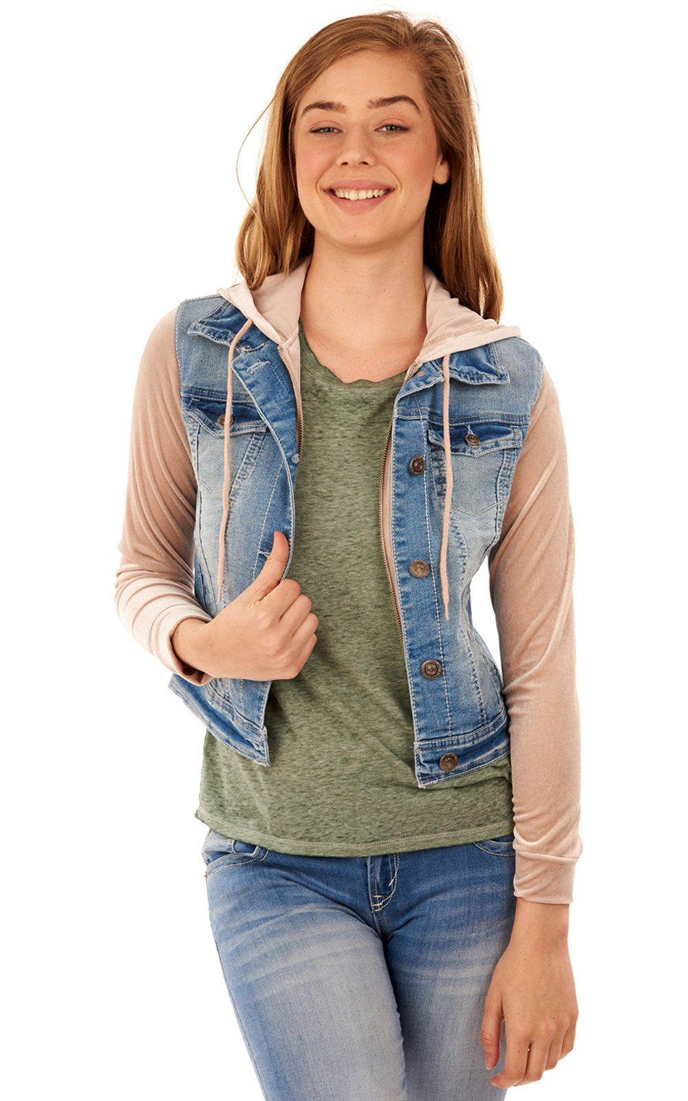 WallFlower Juniors Velvet Sleeve Denim Jacket in Fern, Medium