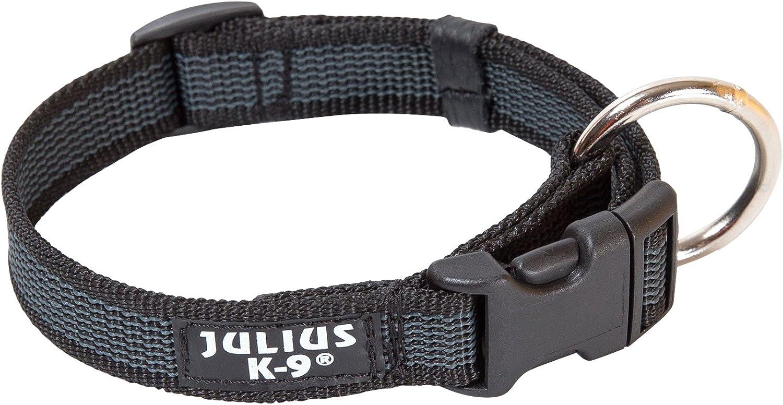 Julius-K9 Collar Color & Gray, 25 mm (39-65 cm), Negro-Gris