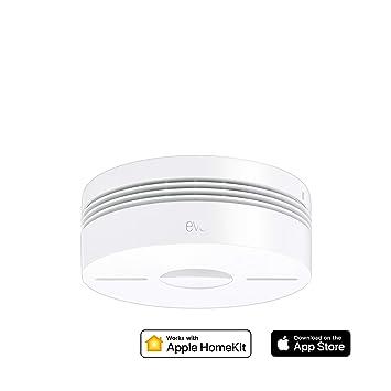 Eve Smoke - Detector de humo y calor con conexión, testeo automático, alarmas en varias habitaciones, non occorrono bridge o gateway, Bluetooth Low ...