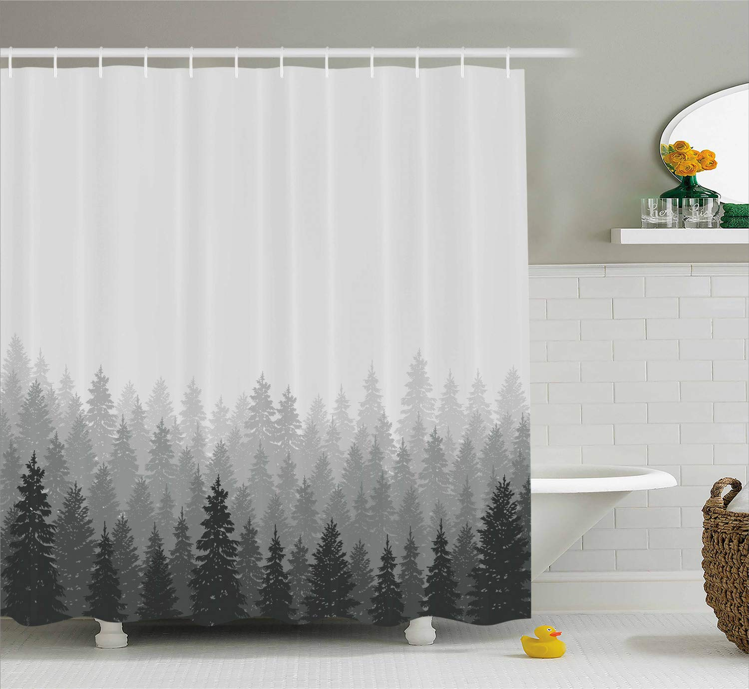 Ambesonne Forest Shower Curtain, Wilderness Pattern with Many Trees Nature Panorama Monochrome Woods, Cloth Fabric Bathroom Decor Set with Hooks, 84 Inches Extra Long, Reseda Grey