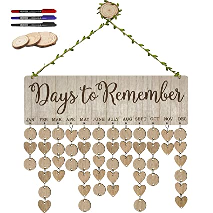 Amazon Com Elekfx Family Birthday Calendar Plaque Wooden Hanging