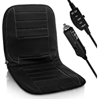 Hillington Heated Car Seat Cover – Universal 12V Cigarette Lighter Padded Electric Warming Hot Cushion Warm Winter Pad with 2 Heat Settings, Easy to Use Control Switch and Overheat Protection (Single)