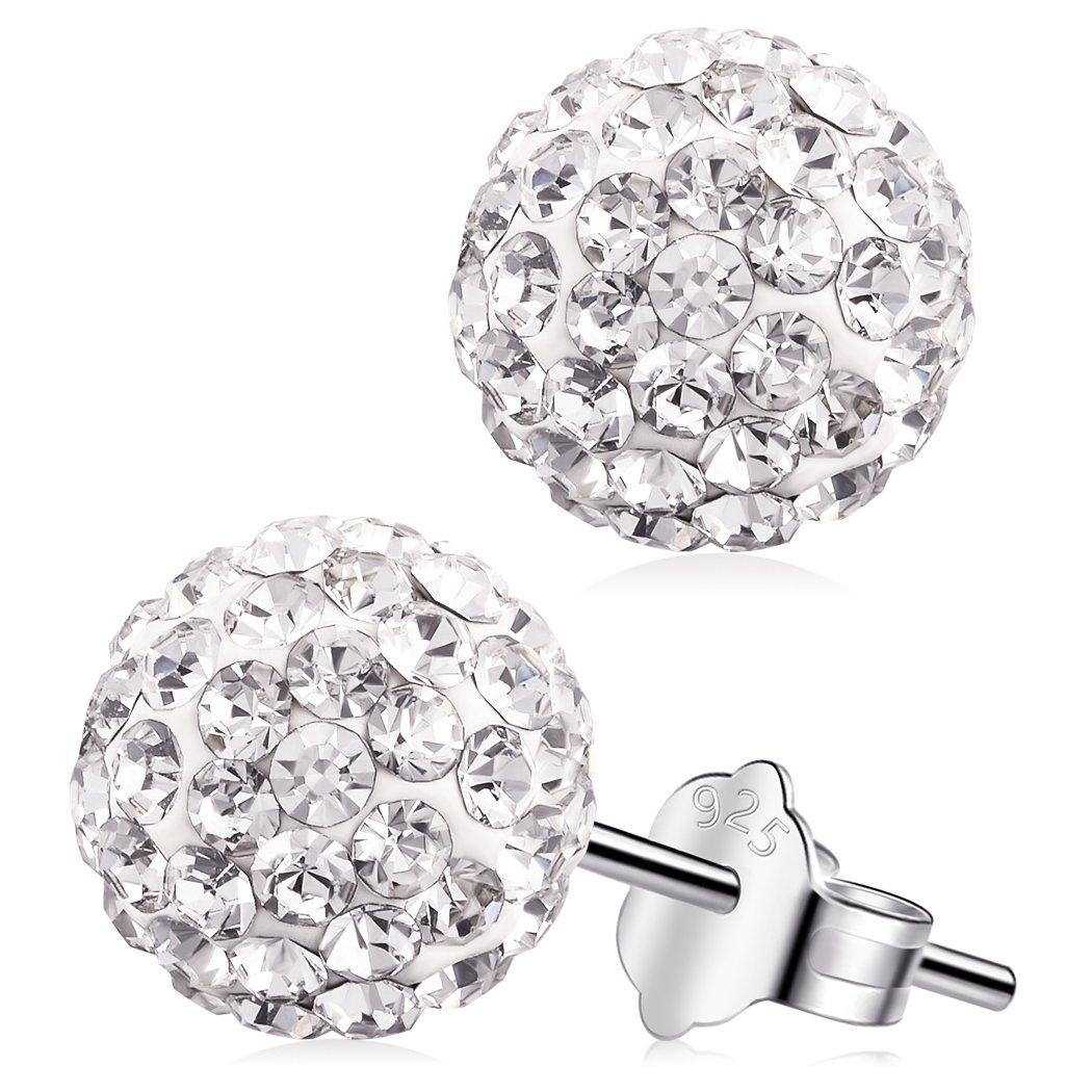 Shambala Crystal Earrings, S925 Sterling Silver 8mm Round Cubic Zirconia Stud Earrings E10