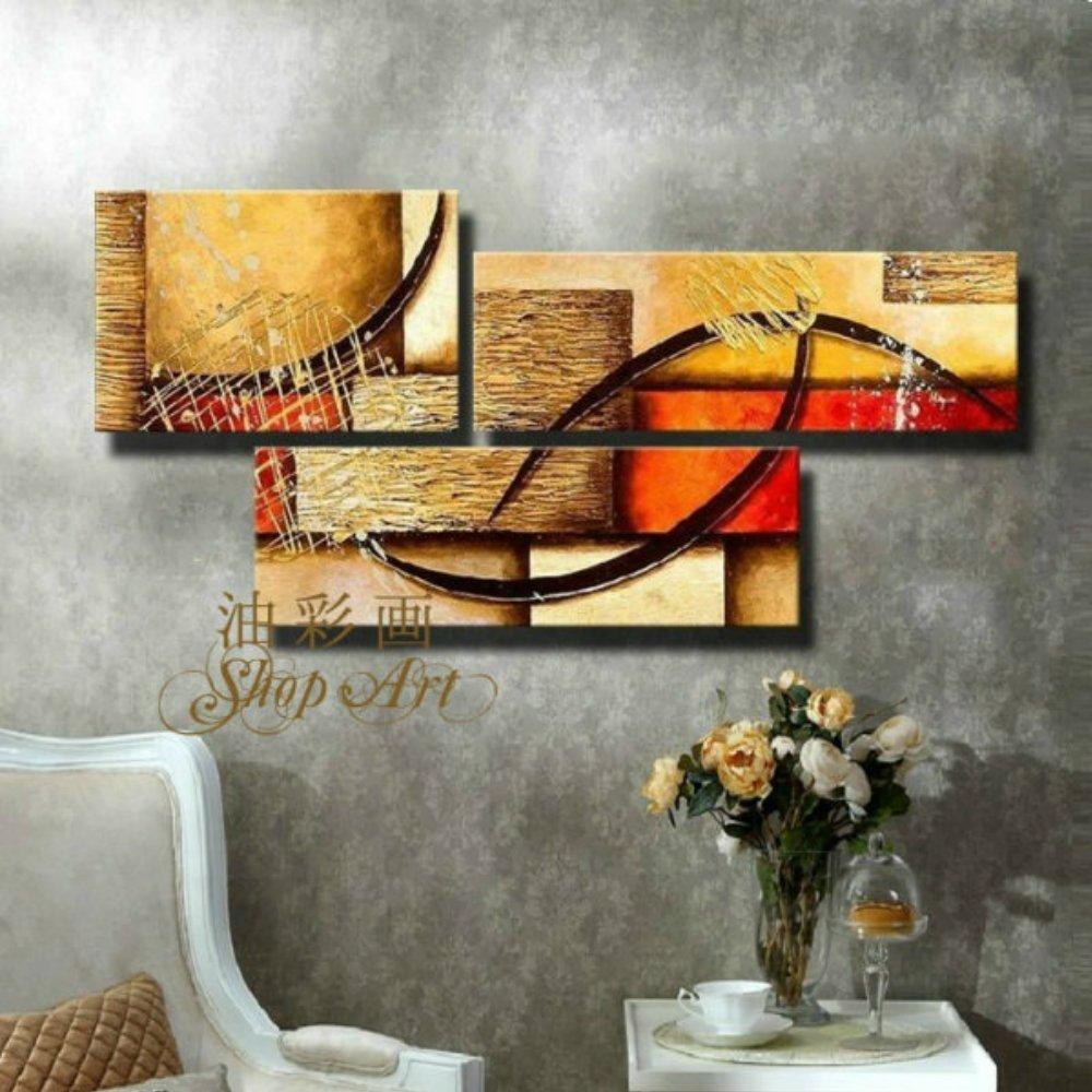 3パネル イメージのレンガ 絵画 油絵 抽象画 壁掛け インテリア モダンアートパネル W0011 手書きの油彩アートパネルの専門店 油彩画SHOP ART B00CU5RNX0