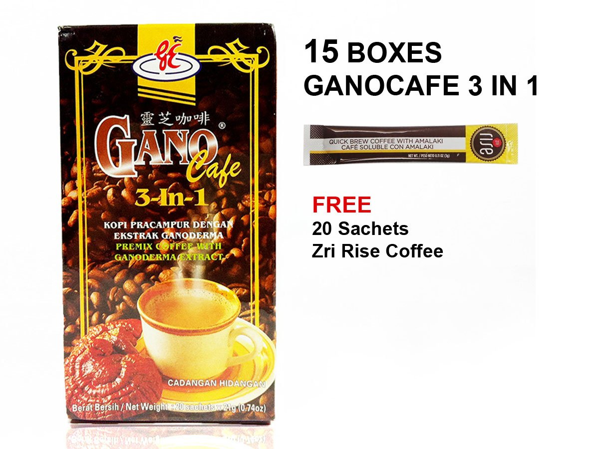 15x Ganocafe 3 in 1 Ganoderma Healthy Latte Coffee FREE Zrii Rise Coffee by Gano Excel