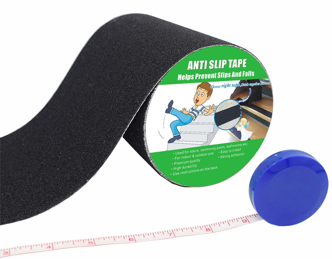 High Traction,Strong Grip Abrasive with Measuring Tape Anti Slip Tape 2 Width x 190 Long, Black Not Easy Leaving Adhesive Residue Indoor /& Outdoor