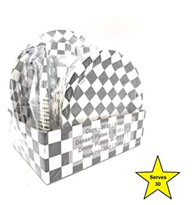 """Serves 30   Complete Party Pack   Black and White Checkered   9"""" Dinner Paper Plates   7"""" Dessert Paper Plates   9 oz Cups   3 Ply Napkins   Race Car Party Theme"""
