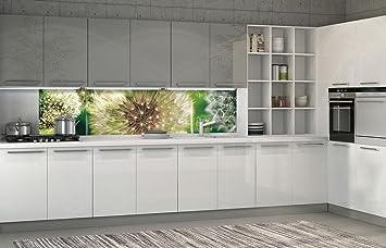 FORWALL Fototapete Küche Vlies Tapete Pusteblumen mit Grünen ...