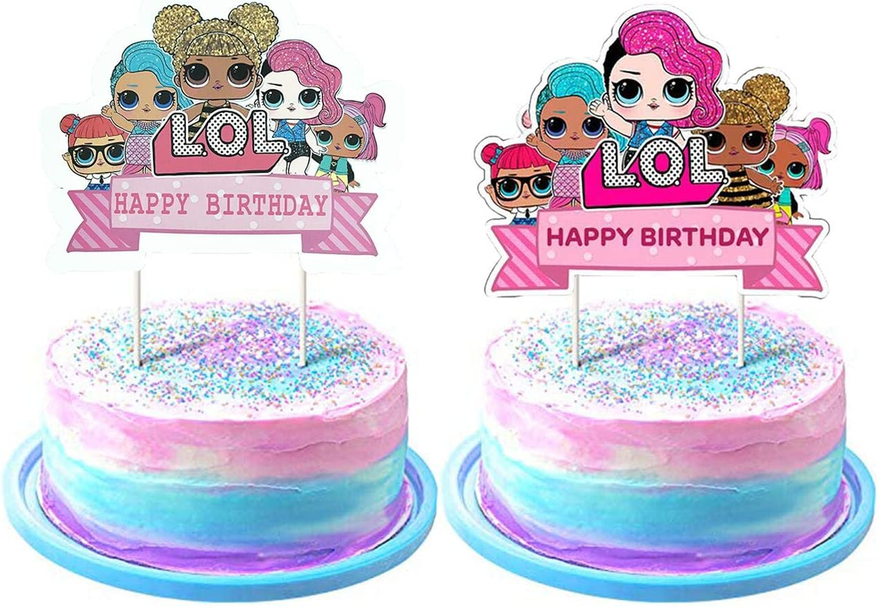 Astounding Lol Birthday Cake Toppers Happy Birthday Pink Cake Decorations For Birthday Cards Printable Giouspongecafe Filternl