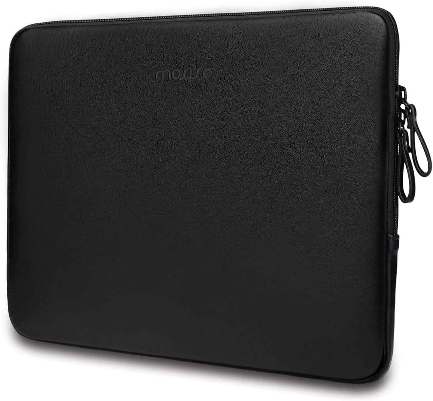 MOSISO Laptop Sleeve Compatible with 13-13.3 Inch MacBook Air/MacBook Pro Retina/2019 2018 Surface Laptop 3/2/Surface Book 2, PU Leather Super Padded Bag Waterproof Protective Case, Black