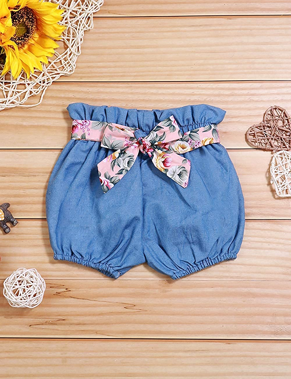 Baby M/ädchen Sommer Kleidung R/üschen Floral /ärmelloses T-Shirt Tops Shorts Outfit Sets