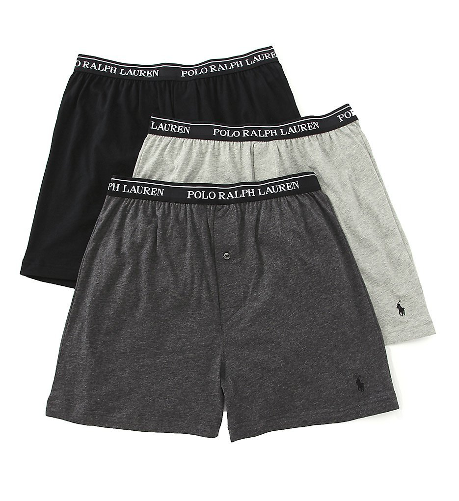 Polo Ralph Lauren Classic Cotton Knit Boxer 3-Pack, L, Assorted Grey