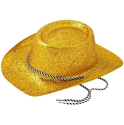 bc776e6a0dbf8 Rimi Hanger Adults Novelty Gold Glitter Cowboy Hat Unisex Fancy Dress Party  Accessories One Size at Amazon Women s Clothing store