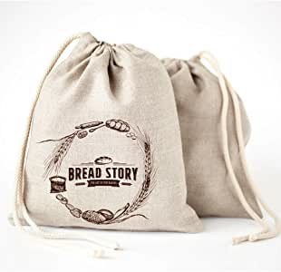 (30 x 40 cm) Linen Bread Bags - 2-Pack, Ideal for Homemade Bread, Unbleached, Reusable Food Storage, Housewarming, Wedding Gift, Storage for Artisan Bread - Bakery & Baguette