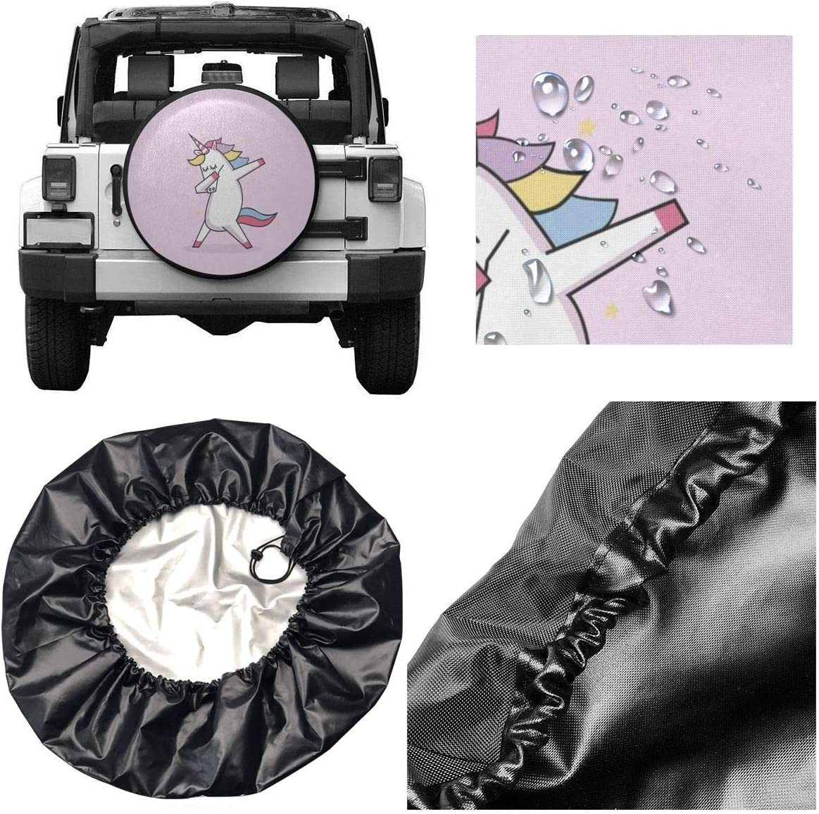 Dirt RV and Corrosion Fit for Car,Trailer All agree Spare Tire Cover Pink Dabbing Unicorn Weatherproof Wheel Cover Protects Tires from Sun SUV and Many Vehicle