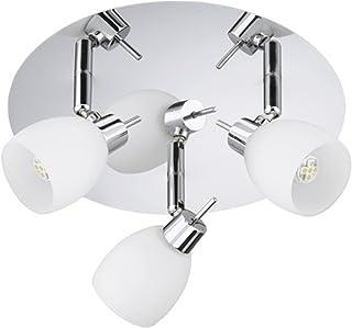 Trango Ceiling light 3-Bulb Ceiling Light Bath Light in Chrome with 3LED Light Spotlight Swivel & Rotating TG100638G