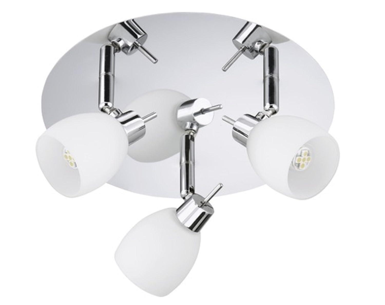 Trango Ceiling light 3-Bulb Ceiling Light Bath Light in Chrome with 3 LED Light Spotlight Swivel & Rotating TG1006 38G